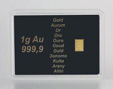 1 Gramm Gold 999,9 + Zertifikat ► 1g Goldbarren ► Geschenk Au Aurum Feingold