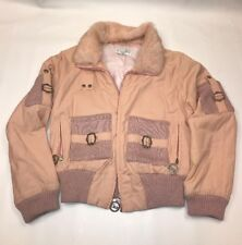 Vintage Dior Logo Monogram Bomber Jacket Parka Removeable Fur Collar Size 6 USA