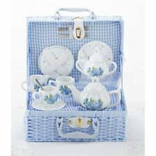 Delton Child's Porcelain Tea Set for 2 in Wicker Basket