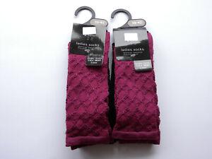 Ladies 4 pairs Plum BlackTrouser Comfy Socks Bargain Value Pack Walking Wellies