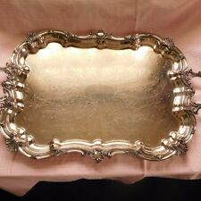 ANTIQUE SHEFFIELD SILVER PLATED FOOTED LARGE SERVING TRAY