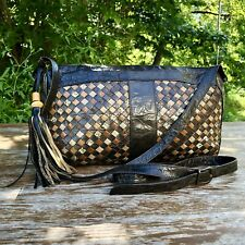 "Meyers USA Vintage Western Leather ""Browns"" woven Shoulder bag crossbody"