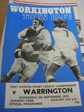 06/09/1978 Rugby League Programme: Workington Town v Warrington (team changes)