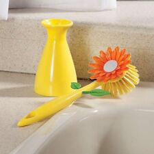 Kitchen Dish Brush Scrubber Plate Washing Cleaning Daisy Decor & Storage Set New