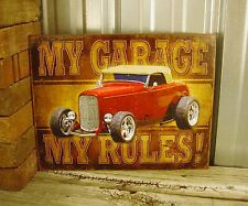 My Garage My Rules Funny Custom Rat Hot Rod Metal Tin Sign Vintage Man Cave Car