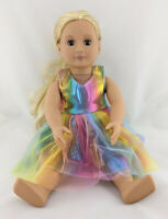RAINBOW SHIMMER DRESS FITS OUR GENERATION & AMERICAN GIRL DOLL CLOTHES