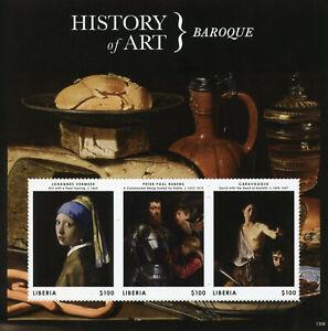 Liberia History of Art Stamps 2013 MNH Baroque Vermeer Rubens Caravaggio 3v M/S