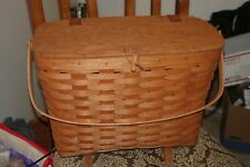Longaberger 1990 Footed Basket with Lid (leather closures) and Handle Magazine