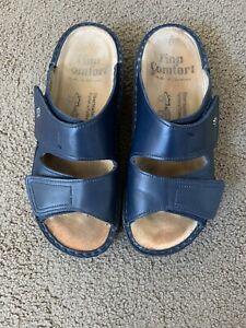 Finn Comfort Jamaica Slide Sandals Sz 37 D Blue Leather Double Strap Shoes 6.5