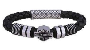 Harley-Davidson Men's Nuts & Bolts Bar & Shield Braided-Leather Bracelet HSB0220