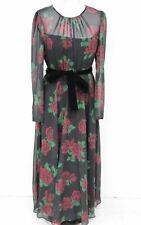 HOBBS Ladies Lolita Black & Red Floral Rose Belted Long Maxi Dress UK18 NEW
