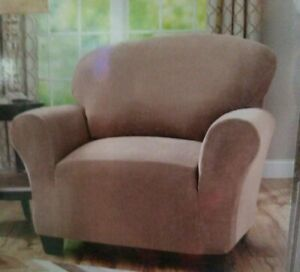 NEW SUREFIT BHG 2-way Stretch 1 Pc Chair Slipcover Brown Clay 32-43 Inches NIP