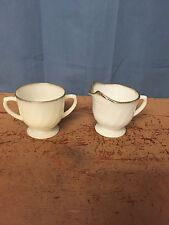 Anchor Hocking Milk Glass Gold Rim Swirl 2 Handled Sugar Bowl & Creamer FRE SHIP