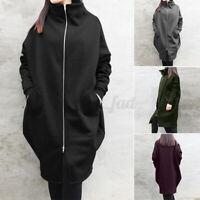 ZANZEA UK Womens Turtleneck Neck Zip Up Outwears Parka Causal Loose Jacket Coats