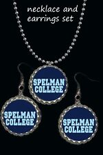 set great gift cute must have Spelman College Jaguars earrings & necklace