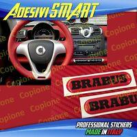 2 Adesivi Resinato Sticker 3D BRABUS Smart Rosso & Nero Volante