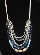 Statement Necklace Layered Crystal Beaded Wood Multi-Tone Blue Silver Tone Shiny