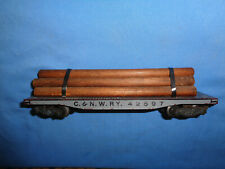 American Flyer #628 C.&N.W.R.Y. Log/Lumber Flat Car. Pressed Wood Version