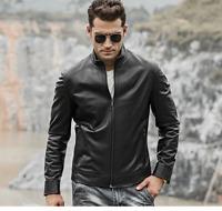Men's Black Biker Slim Fit Cafe Racer Motorcycle Real Sheepskin Leather Jacket
