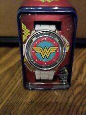 DC Comics Wonder Woman White Logo Spinner Watch TIN CASE