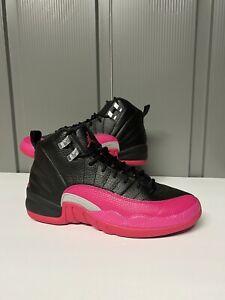 Jordan 12 Retro Black Deadly Pink GS - Size 6Y