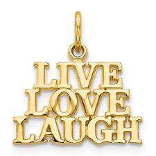 14k Yellow Gold 'Live Love Laugh' Charm Pendant - C1062VJ1556