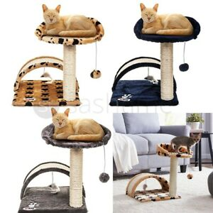 Cat Scratching Post Bed Activity Centre Toys Grey Sisal Play Scratcher Tower Kit