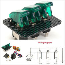 Carbon Fiber Surface DC12V 3-LED Green Racing Automobile Toggle Switch Panel Kit