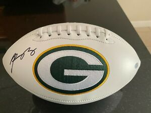 Aaron Rodgers signed Steiner football with card Packers