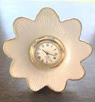 LENOX DESK CLOCK FLOWER BURST DESIGN IVORY PORCELAIN  FULLY FUNCTIONAL VINTAGE