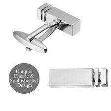 Unique Silver Plated Polished Finish Formal Rectangular Bar Block  Cufflinks