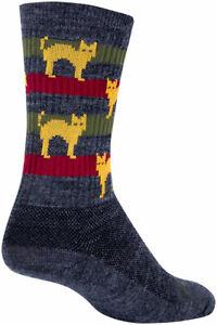 SockGuy Catz Wool Socks | 6 inch | Gray/Yellow/Red | S/M