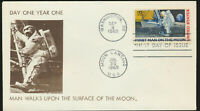 C76 Moon Landing Cachet 1969 Dual Cancel FDC Dark Brown Cachet Lot 7622