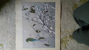 Antique Japanese Bird print signed by Rakushan!  Excellent condition 32 x 18