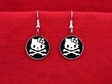 HELLO SKULL KITTY BONES EARRINGS PSYCHOBILLY KAWAII EMO