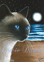 ACEO art print Cat 396 Siamese from original painting by L.Dumas