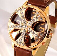 XL Gent Mens Brown Leather Bling Crystal Gold Rapper Spin Ice Pimp Gangsta Watch