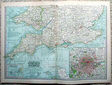 Original 1897 Map of The Southern Parts of England & Wales - Nicely Detailed