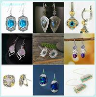 Women 925 Silver Ear Gemstones  Stud Wedding Bridal Jewelry Earrings Gift