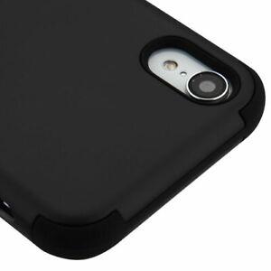 "For iPhone XR (6.1"") - Black Hybrid Hard & Soft Nonslip Armor Impact Case Cover"