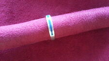 Beautiful Blue Lapiz Solid Band Ring 925 Sterling Silver *Size 7 *A378