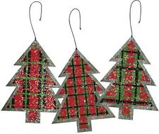 Set of 3 Country Rustic Black Red Green Plaid Tin Tree Ornaments