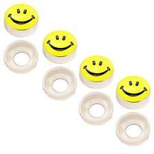 4 Chrome Custom License Plate Frame Screw Snap Caps Covers SMILE Face