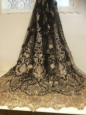 "BLACK MESH GOLD METALLIC EMBROIDERY  LACE FABRIC 50"" WIDE 1 YARD"