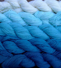 100% wool yarn sport weight,  white and blues, 5 skeins, 800 yards, 9 oz.