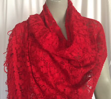 Lace Shawl with Tassels Vintage Randolph Duke The Look Red New With Tags
