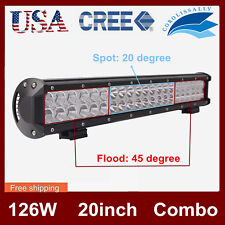 20INCH 126W CREE Led Light Bar Flood Spot Work Driving Lamp Offroad 4WD Truck 18