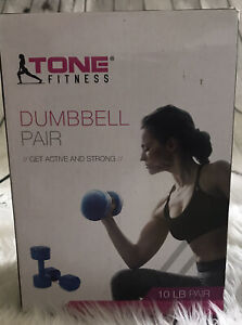Tone fitness dumbbell Pair Use In Box blue 5 Pounds Each
