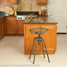 Industrial Metal Design Adjustable Height Tractor Seat Bar Stool in Aged Silver