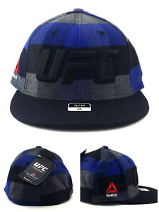 UFC Reebok New MMA Fighters Flex Blue Black Plaid Era Fit Fitted Hat Cap S/M